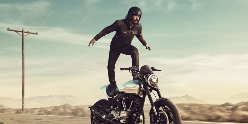 Keanu Surfs a Motorcycle on Super Bowl Ad